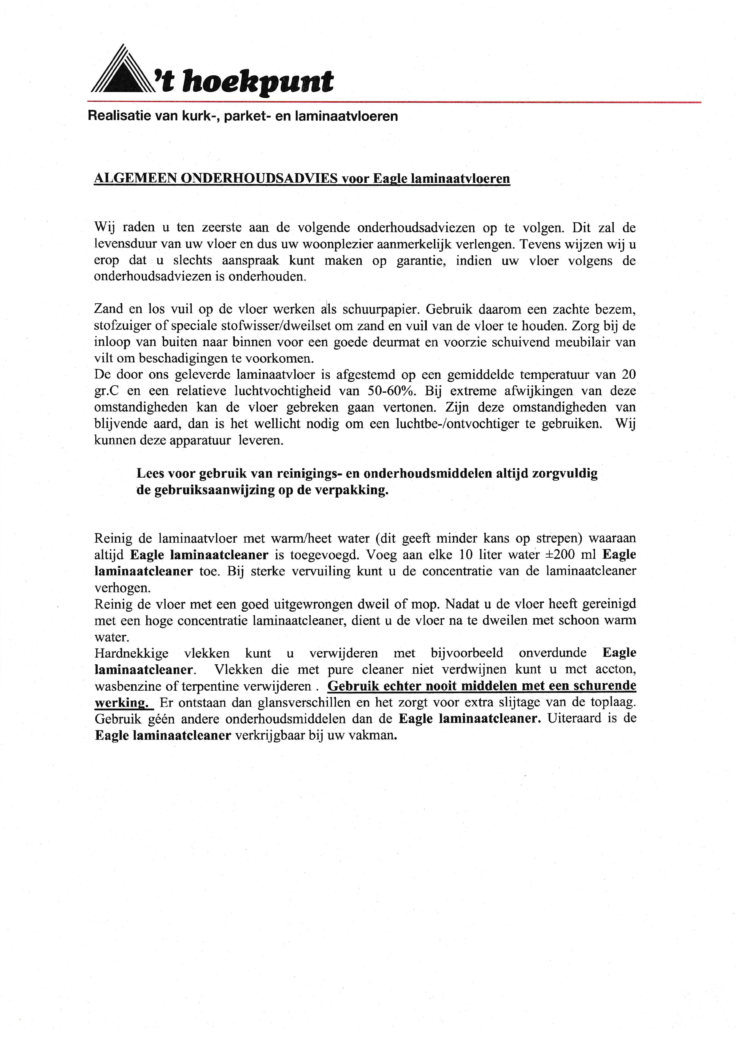 Eagle--laminaatvloeren-onderhoudsadvies